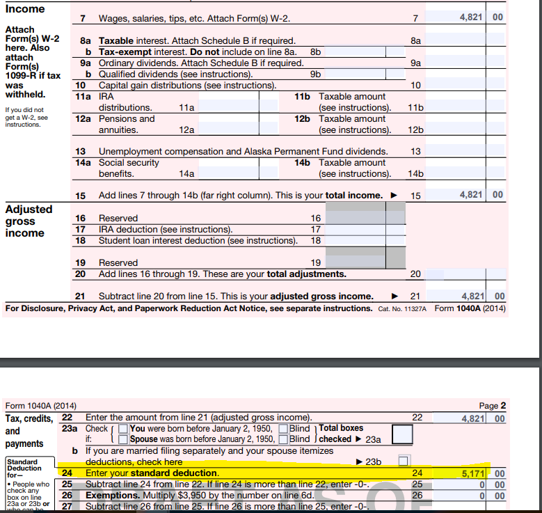 Solved: Line On Form 1040A 2014 Standard Deduction