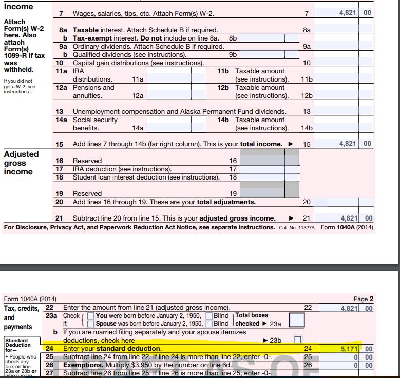 Solved: Line On Form 1040A 2014 Standard Deduction